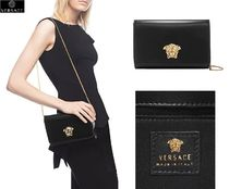 VERSACE Calfskin 2WAY Chain Plain Party Style Clutches