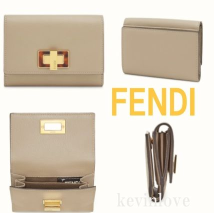 FENDI PEEKABOO Calfskin Plain Folding Wallets