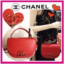 CHANEL ICON Red Coco Curve Flap Shoulder Bag With CC Logo