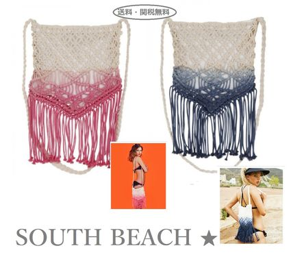 Casual Style Tie-dye Fringes Shoulder Bags