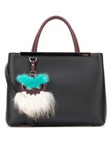FENDI 2 JOURS 2Jours Petite Shopper Bag With GreenFur Bag Bug / Black