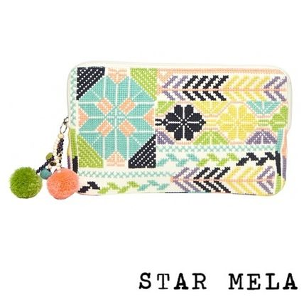 Casual Style Tassel Cotton Pouches & Cosmetic Bags