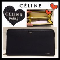 CELINE Unisex Bi-color Leather Long Wallets