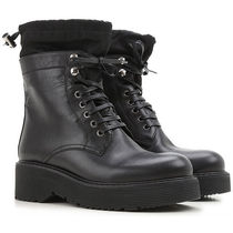 PRADA Round Toe Lace-up Leather Lace-up Boots
