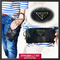 PRADA Camouflage Casual Style Unisex Nylon Pouches & Cosmetic Bags
