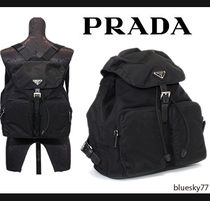 PRADA Casual Style Unisex Nylon Plain Backpacks