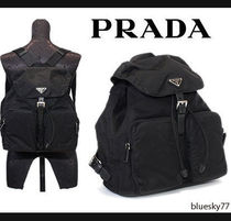 PRADA Unisex Nylon Plain Backpacks