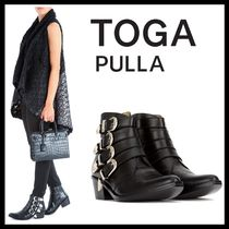 TOGA Plain Leather Block Heels Ankle & Booties Boots