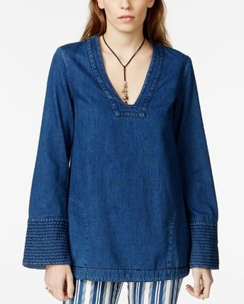 Free People V-Neck Long Sleeves Plain Cotton Tunics
