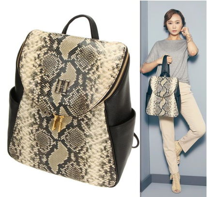 Casual Style Street Style A4 2WAY Leather Python Backpacks
