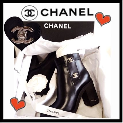 CHANEL Ankle & Booties Plain Leather Block Heels Elegant Style