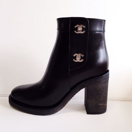 CHANEL Ankle & Booties Plain Leather Block Heels Elegant Style 2