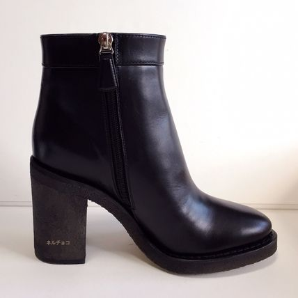 CHANEL Ankle & Booties Plain Leather Block Heels Elegant Style 4