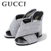 GUCCI Open Toe Leather Elegant Style Peep Toe Pumps & Mules