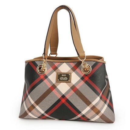 Glen Patterns Tartan A4 2WAY Chain Leather Party Style Totes