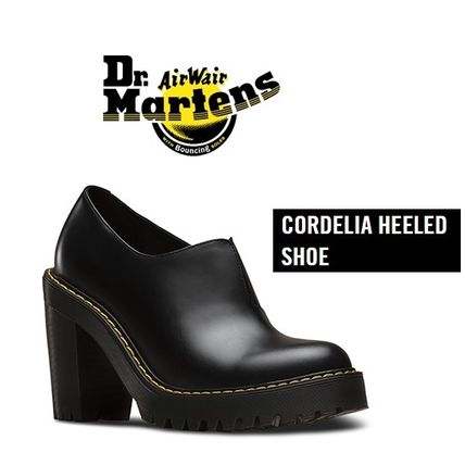 Dr Martens Plain Toe Plain Leather Block Heels Ankle & Booties Boots
