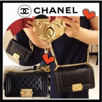 CHANEL BOY CHANEL Casual Style Lambskin 3WAY Chain Plain Shoulder Bags