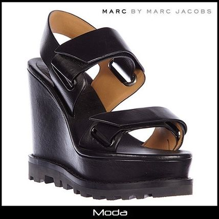 Open Toe Casual Style Plain Leather Platform & Wedge Sandals
