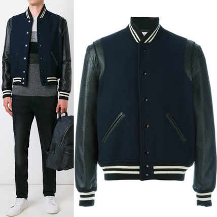Saint Laurent 16-17 AW SLP 267 CLASSIC TEDDY JACKET WITH LEATHER SLEEVES