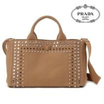 PRADA CANAPA Casual Style Canvas A4 2WAY Plain With Jewels Totes
