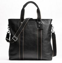 Coach HERITAGE STRIPE Stripes A4 2WAY Plain Leather Totes