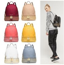 Michael Kors RHEA Monogram Casual Style Studded Plain Leather Backpacks