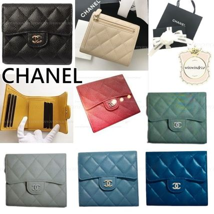 CHANEL MATELASSE Lambskin Small Wallet Folding Wallets