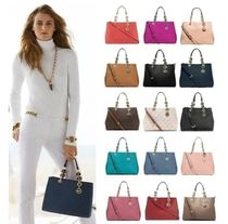 Michael Kors CYNTHIA Monogram Saffiano 2WAY Chain Plain Elegant Style Handbags