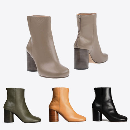 Maison Martin Margiela Round Toe Plain Leather Block Heels Ankle & Booties Boots