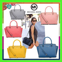 Michael Kors Casual Style Studded 2WAY Plain Leather Handbags