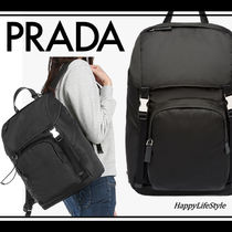 PRADA Casual Style Unisex Nylon A4 Plain Backpacks