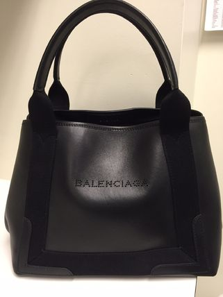 Navy cabbage tote S size mat leather