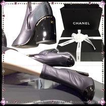 CHANEL Round Toe Leather Block Heels Party Style High Heel Boots