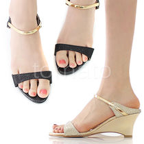 Gold strap wedge mules