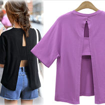 Short Casual Style U-Neck Plain Cotton Short Sleeves Cropped