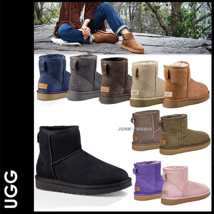 Casual Style Sheepskin Plain Ankle & Booties Boots