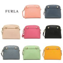 FURLA PIPER Plain Leather Party Style Shoulder Bags