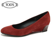 TOD'S Round Toe Plain Leather Wedge Pumps & Mules