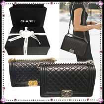CHANEL BOY CHANEL Leather Party Style Handbags