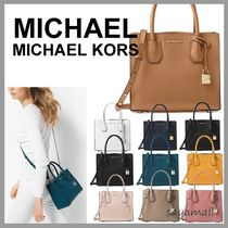 Michael Kors MERCER 2WAY Plain Leather Office Style Totes