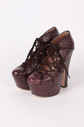 Block Heels Python Ankle & Booties Boots