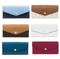 Michael Kors GREENWICH Monogram Bi-color Leather Long Wallets