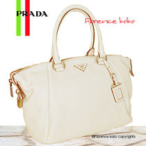 PRADA Talco White Vitello Daino Leather Tote Bag
