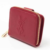 Saint Laurent Plain Leather Folding Wallets