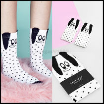 LAZY OAF Dots Casual Style Unisex Plain Socks & Tights