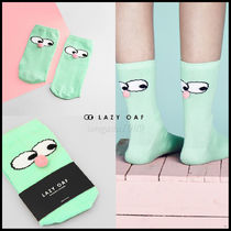 LAZY OAF Casual Style Unisex Plain Cotton Socks & Tights