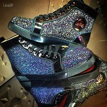 Christian Louboutin LOUIS Straight Tip Enamel Bi-color With Jewels Sneakers