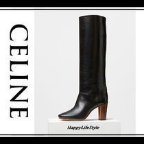 CELINE Casual Style Plain Leather Block Heels High Heel Boots