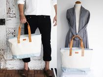 Casual Style Unisex Canvas A4 2WAY Plain Totes