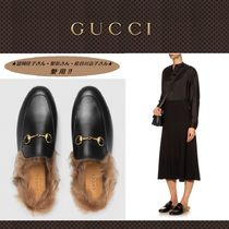 GUCCI Princetown Round Toe Casual Style Blended Fabrics Leather Slip-On Shoes